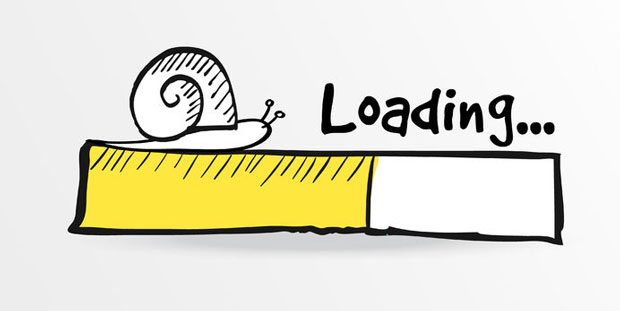 Slow Website - A picture of a hand drawn sketched Loading bar with a doodle snail on top.